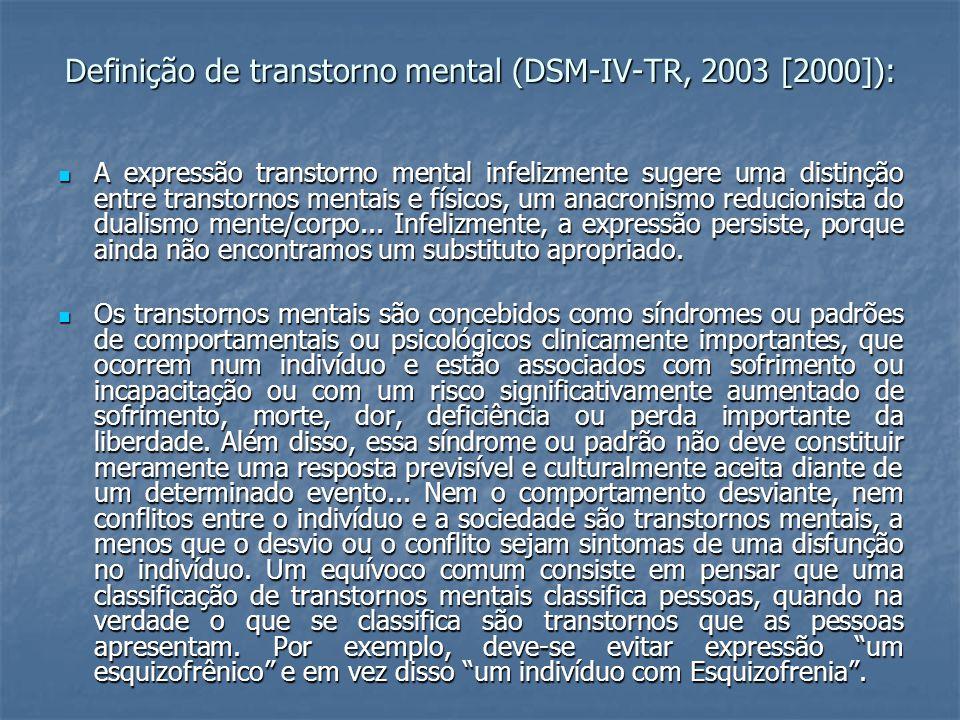 Definição de transtorno mental (DSM-IV-TR, 2003 [2000]):